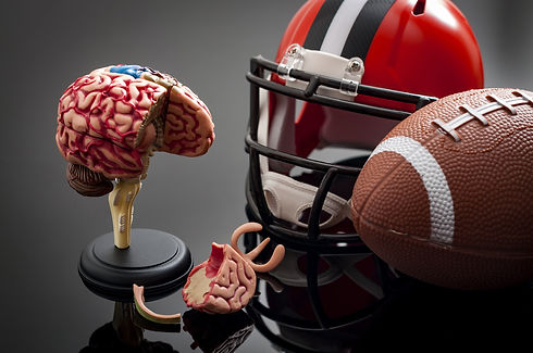 Brain damage and sports injury concept w