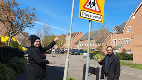 Cauldwell Councillors and parents welcome signage to warn drivers of children playing nearby