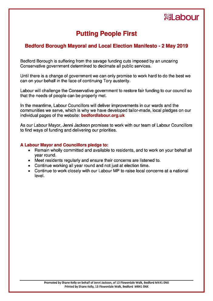 2019 03 Bedford Borough Labour Manifesto