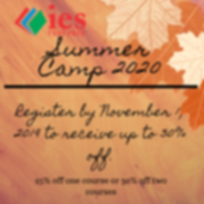 Early Registration discounts for Summer Camp.