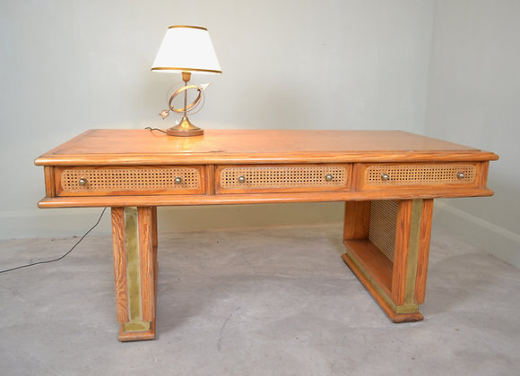 Pine and cane desk.