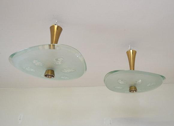 Pair of Fontana Arte chandeliers