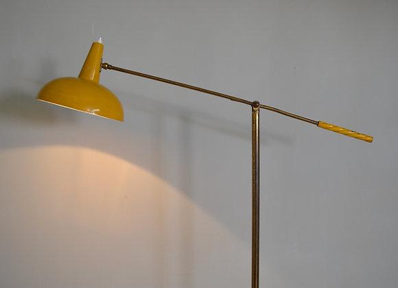 Yellow articulating floor lamp. Italy c.1950