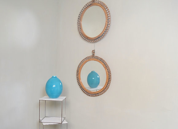 Small pair of bamboo mirrors