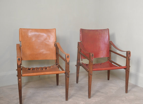 Leather campaign chairs. Denmark c.1950