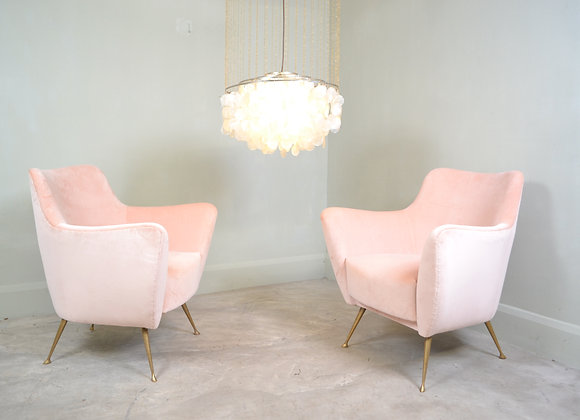 Pair pink upholstered chairs