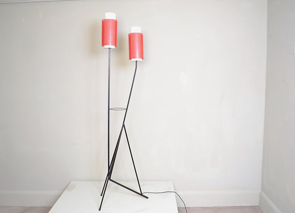 Italian floor lamp with red metal shades