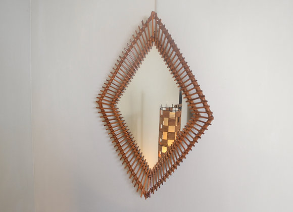 Rattan diamond mirror. Italy c.1970