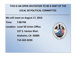 LOCAL 50 POLITICAL COMMITTEE MEETING