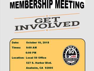 OCTOBER GENERAL MEMBERSHIP MEETING