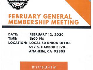 FEBRUARY GENERAL MEMBERSHIP MEETING