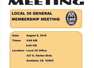 AUGUST GENERAL MEMBERSHIP MEETING