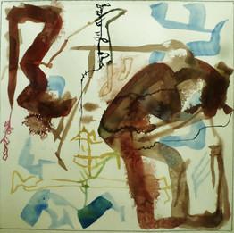 Untitled Brown Figure, PIgment Wash
