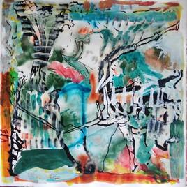 Garden Scrim, 19 x 19in, Acrylic, PIgments