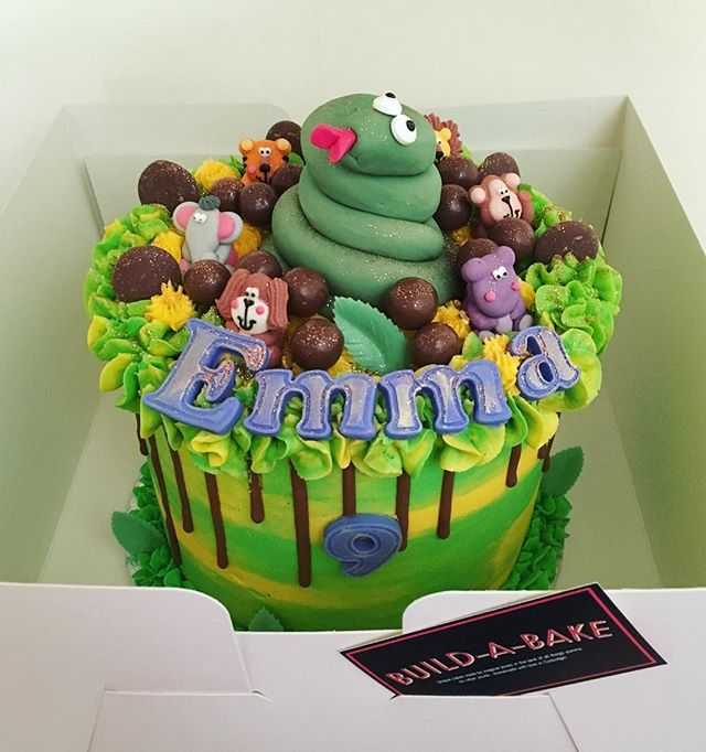 Chocolate & caramel animal cake for Emma