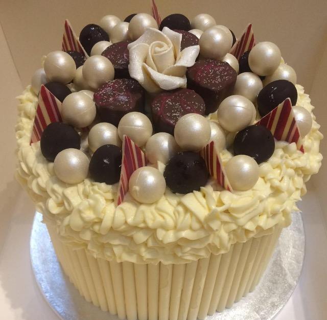 Chocolate & cherry themed cake