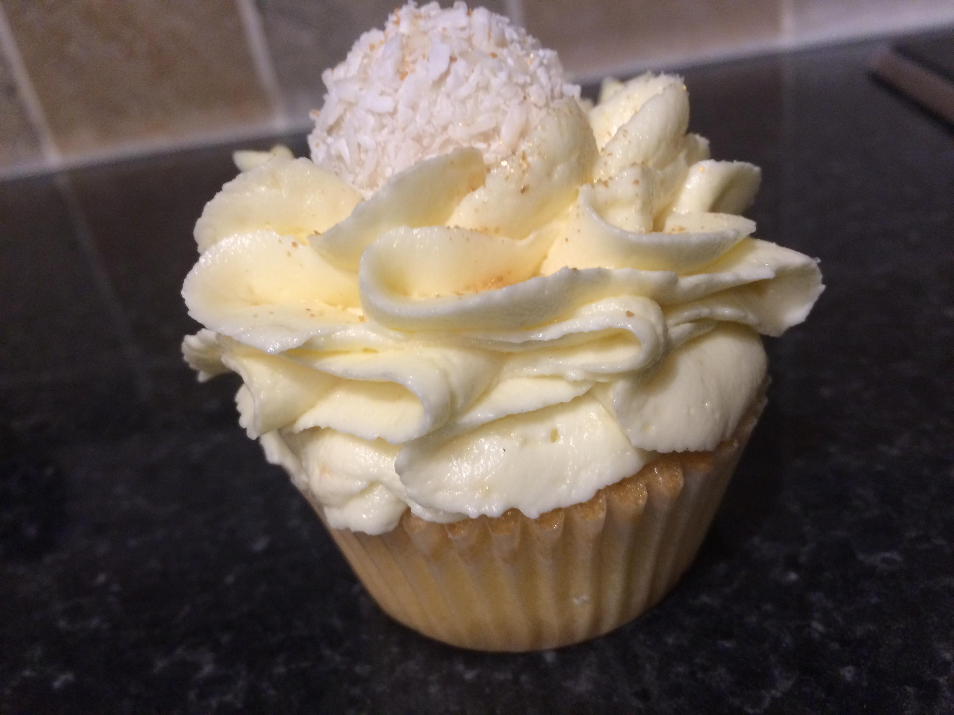 White choc & coconut cupcake
