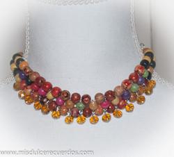 wood beads choker chandelier