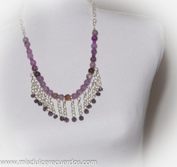 Linkchain purple bead necklace