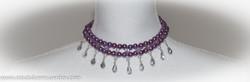 Purple beaded choker, chandelier