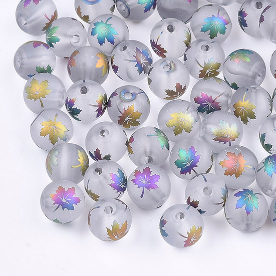 Electroplate Frosted Glass Round Beads with Maple Leaf Pattern
