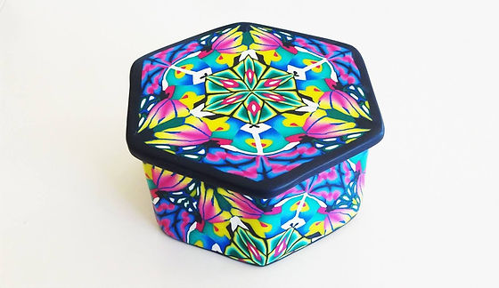 Polymer Clay Trinket Box made with canes by Fiona Abel-Smith PolyOriginals