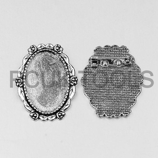 Oval Cabochon Setting Brooch - Set of 2