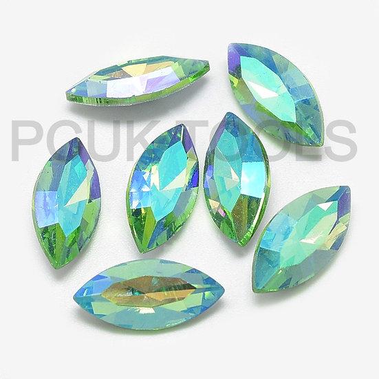 AB Foil-backed Glass Rhinestone Cabochon Crystals