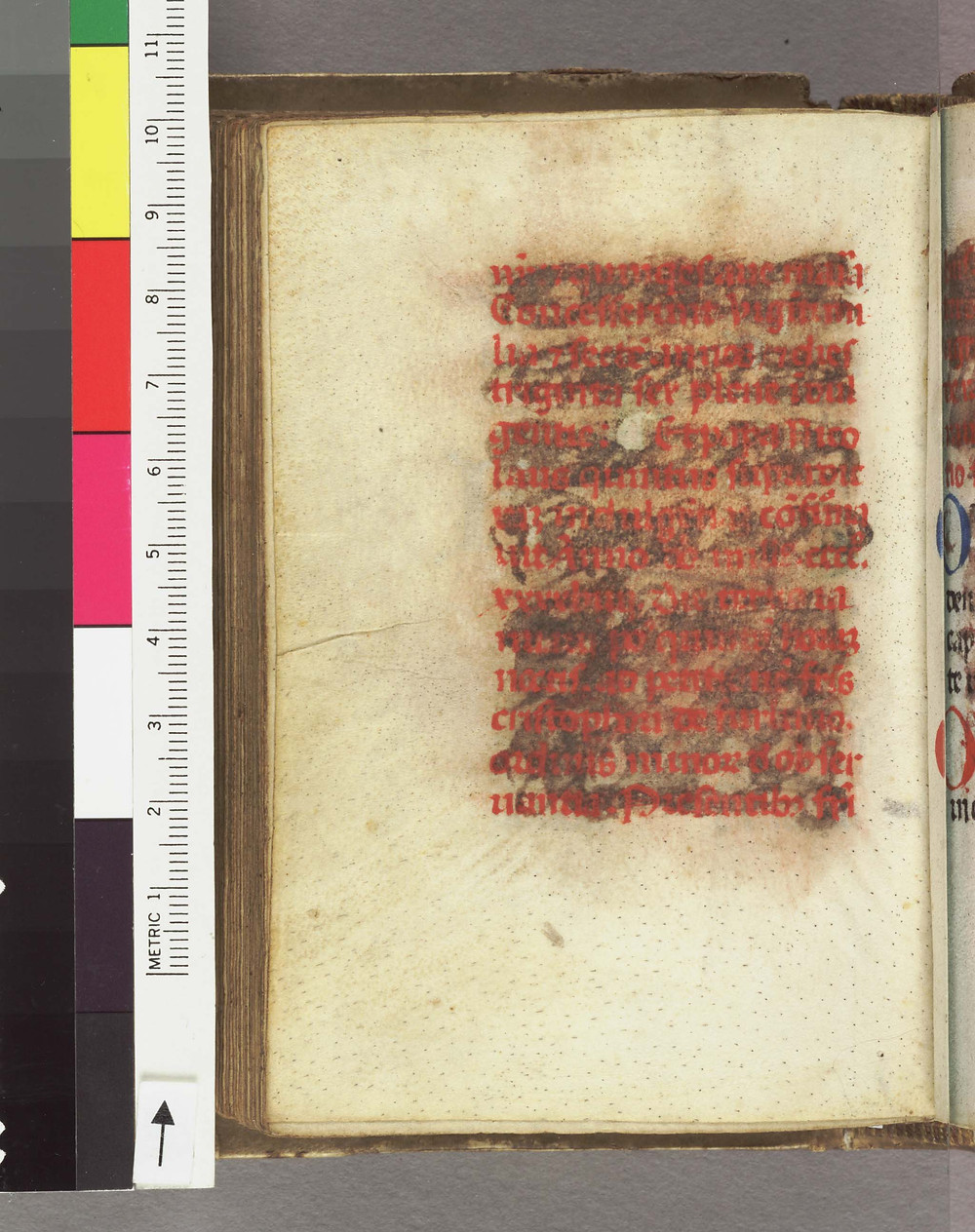Text on vellum (hair side), obliterated with wash | Italy, 15th c. at Harry Ransom Humanities Research Center, University of Texas at Austin via Digital Scriptorium.