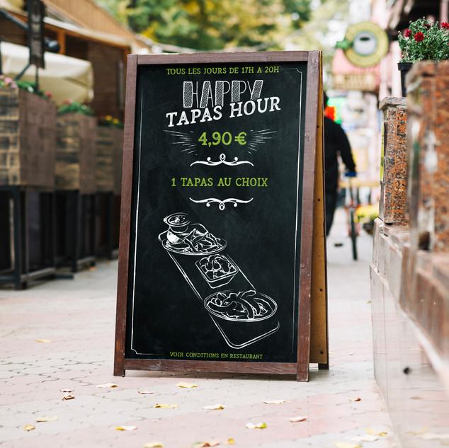 Ardoise Leon de Bruxelles Happy Tapas Hour