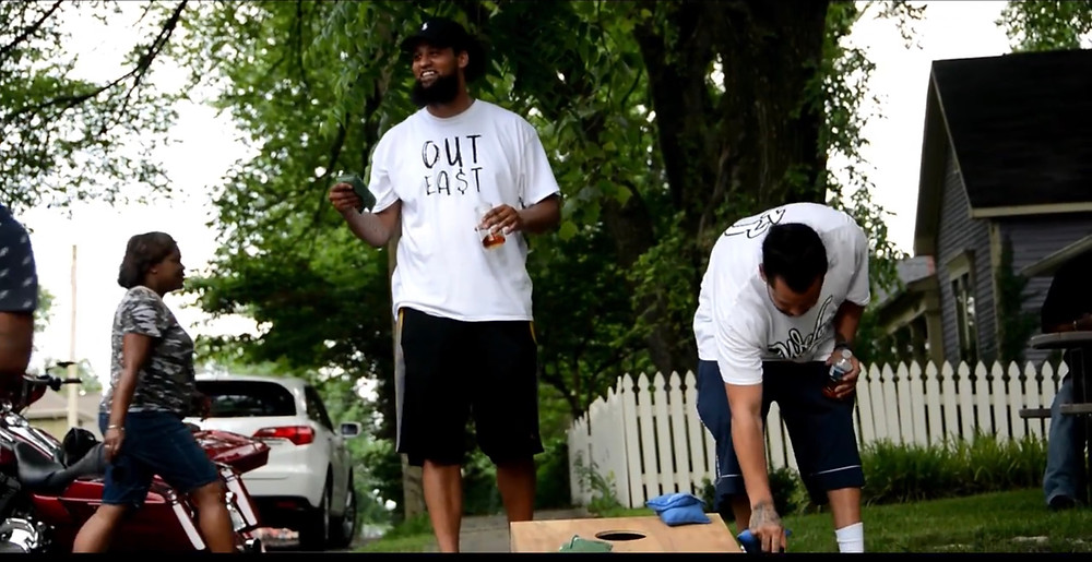 STAN a rapper from East Nashville playing corn hole with his younger brother Petty who is also a well known artist in Nashville.