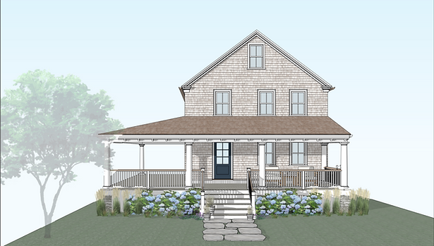 3d rendering of front elevation of shingle style home and new porch