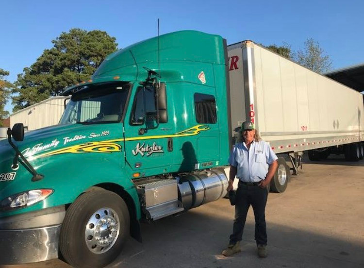 Kutzler Express' Duane Atkinson delivered the donation load to Conroe, Texas