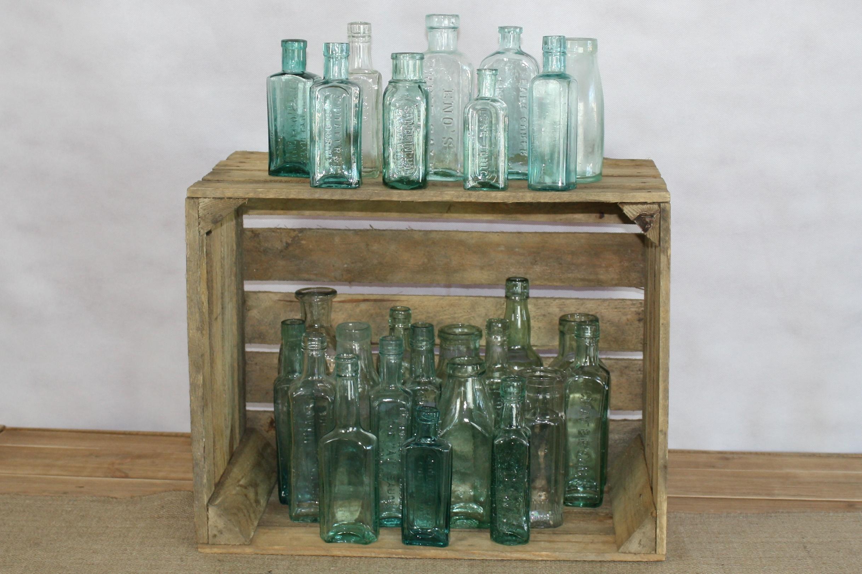 Green vintage bottles