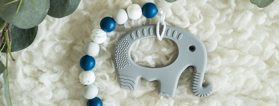 Pacifier Clip + Teether | Elephant + Bowie