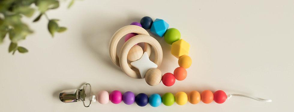 Pacifier Clip + Rattle   Chunky Rainbow
