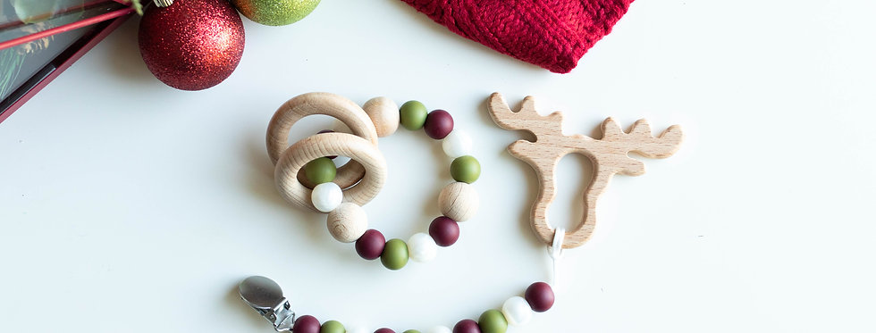 Pacifier Clip +Teether + Rattle | Evergreen Pearl