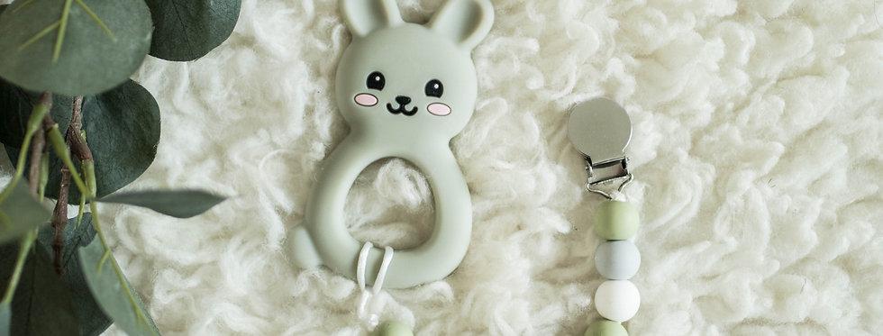 Pacifier Clip + Teether | Bunny + Bubba