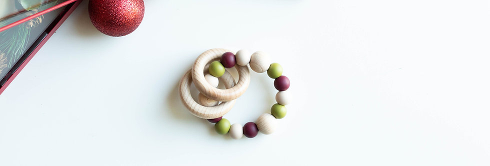 Teething Rattle | Evergreen Wheat