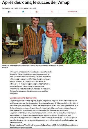 Article de presse AMAP'tite souchéenne Souché Niort