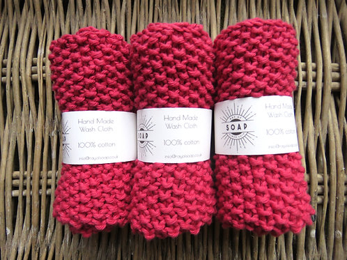 Hand Made Wash Cloth - Raspberry