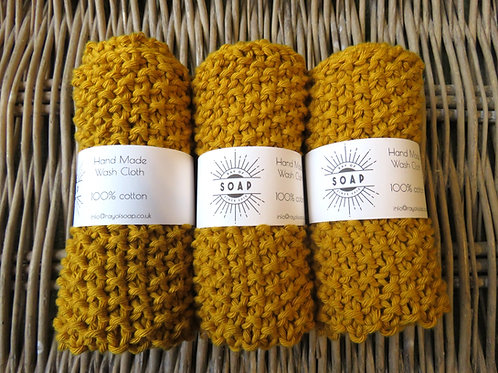 Hand Made Wash Cloth - Mustard