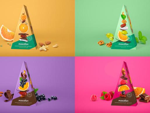 Дизайн-концепт упаковки для полезных десертов Makosh.