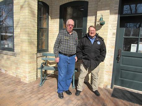 Joe and depot visitor.JPG