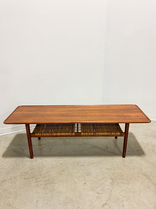 Hans Wegner AT-10 teak and cane coffee table