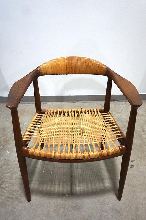 Hans Wegner Teak and Cane Round Chair