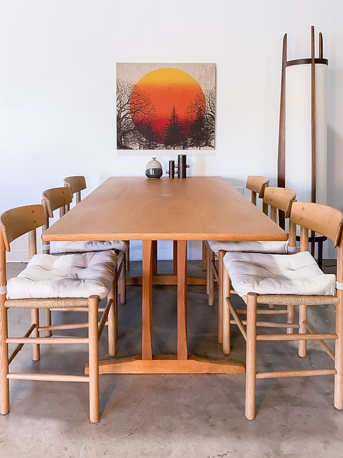 Borge Mogensen oak dining set with 6 chairs