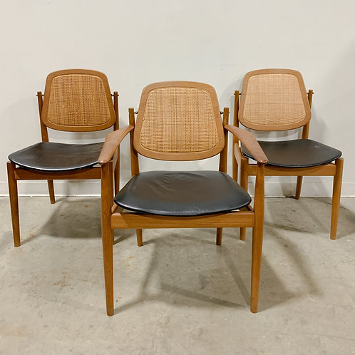 Arne Vodder Teak and Cane Danish Modern Dining Chairs Set of 8