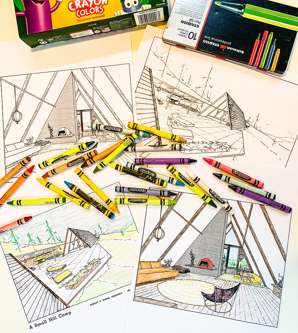 Mid-century modern coloring page