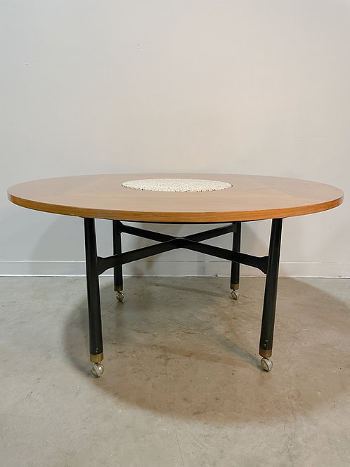 Harvey Probber Walnut and  Terrazzo Game table